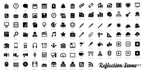 "200+ Exclusive Free Icons: ""Reflection"